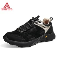 humtto cushioning running shoes men genuine leather light jogging sneakers male comfortable lace up outdoor walking sport mens