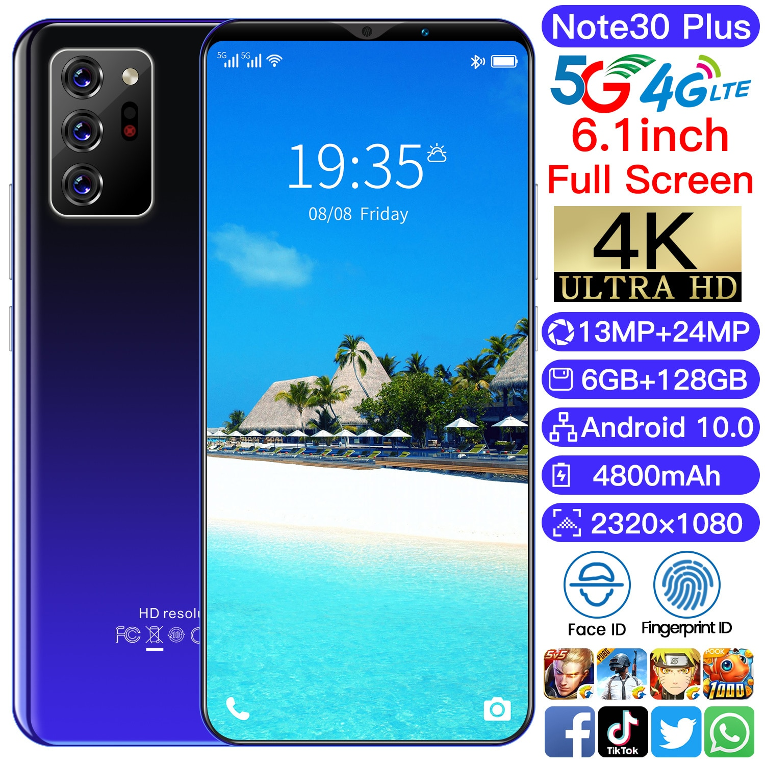 Global Version 6.1 Inch Note30 Plus Android10 Smartphone 6+128GB4800mAh Face Unlock Cellphone Dual SIM 4G LTE 5G Network Phone