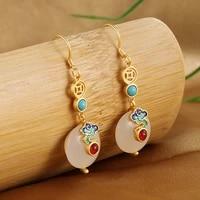 classic vintage womens nephrite peace buckle earrings 2021 fashion jewelry 925 sterling silver earrings