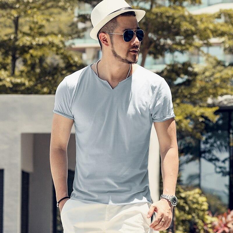 2019 Summer Hot Sale T- Shirt New Men's V Neck Tops Tee Shirt Slim Fit Short Sleeve Solid Color Casual T-Shirt T5002
