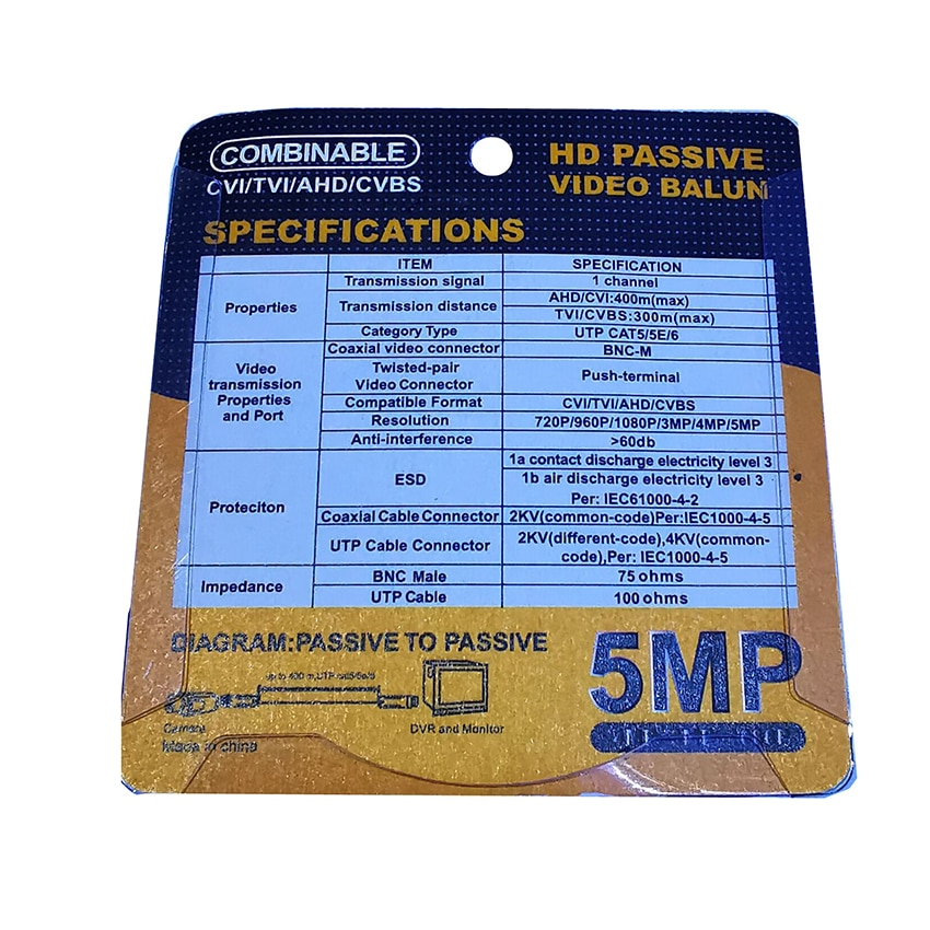 10 Pairs HD 5MP BNC Video Balun Connector Passive Twisted Balun For Video Surveillance AHD/HD-CVI/TVI/CVBS Camera enlarge