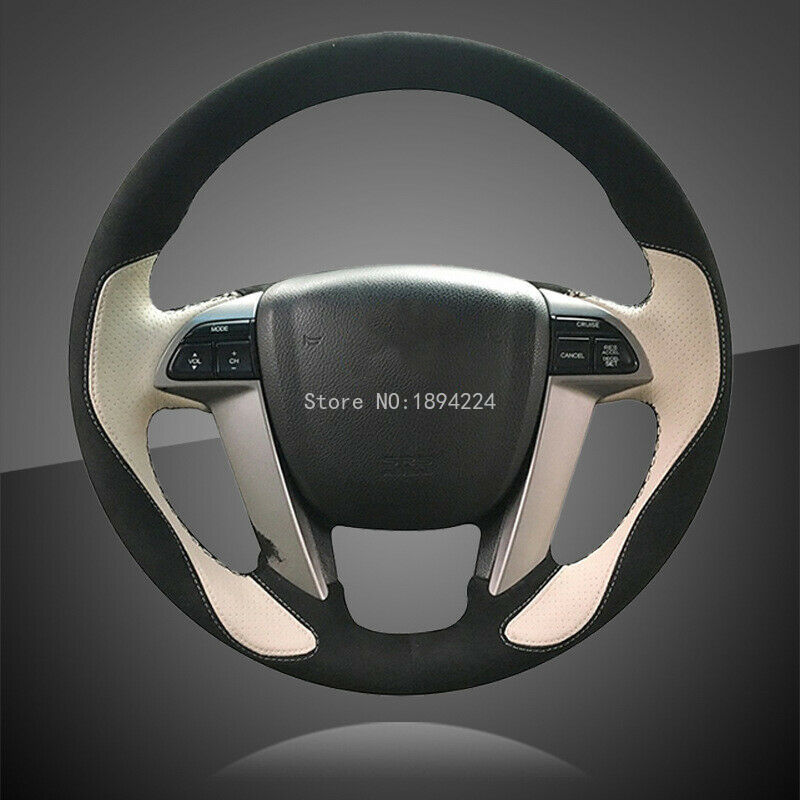 Cubiertas interiores de cuero negro y blanco para el volante del coche Honda Accord 8 2008-
