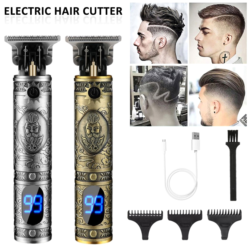 LCD Display Professional Hair Clipper Barber Haircut Sculpture Cutter Rechargeable Razor Trimmer Adjustable Cordles Edge for Men