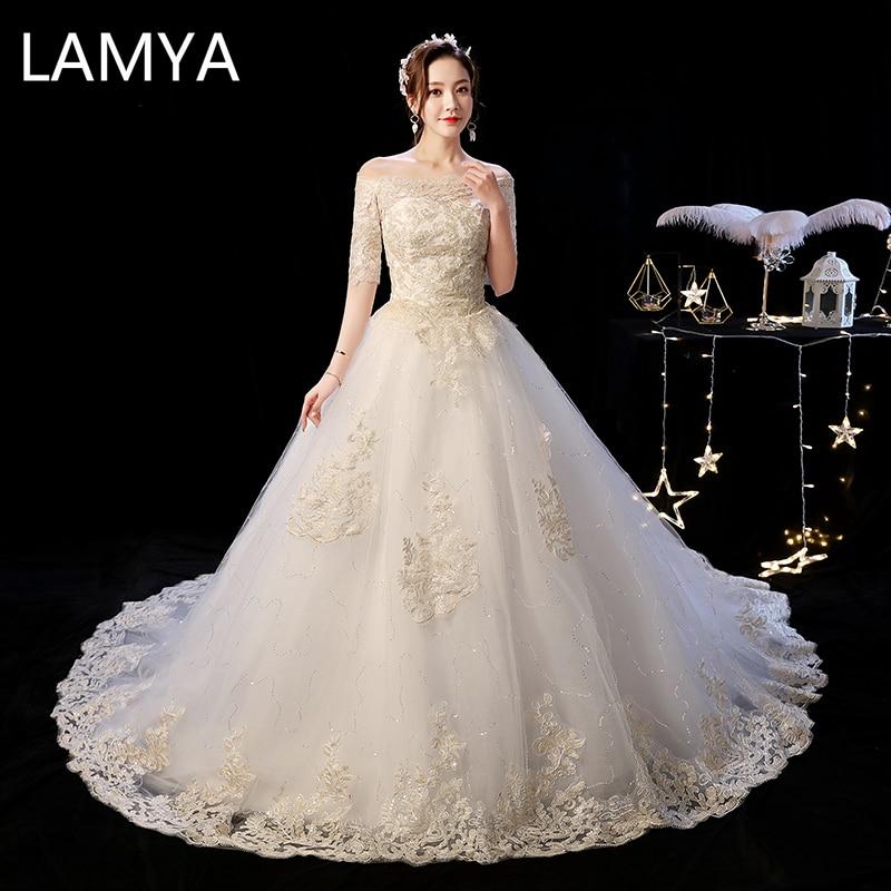 LAMYA-vestido elegante De encaje con cola, prenda De Novia, color champán, con cuello De barco, talla grande