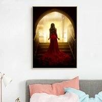 Femme en rouge Sexy mode HD mur Art toile affiches imprimer peinture mur photos pour salon moderne decoration de la maison sans cadre
