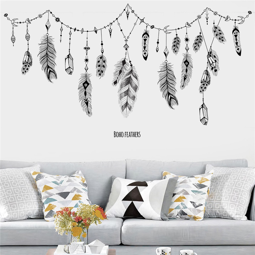 KAKUDER-pegatina para pared con patrón de plumas, arte, vinilo, Mural, vinilo decorativo,...