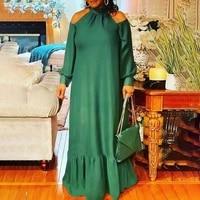 vonda women pleated dress casual mock neck long sleeve off shoulder maxi dresses bohemian party vestidos beach robe