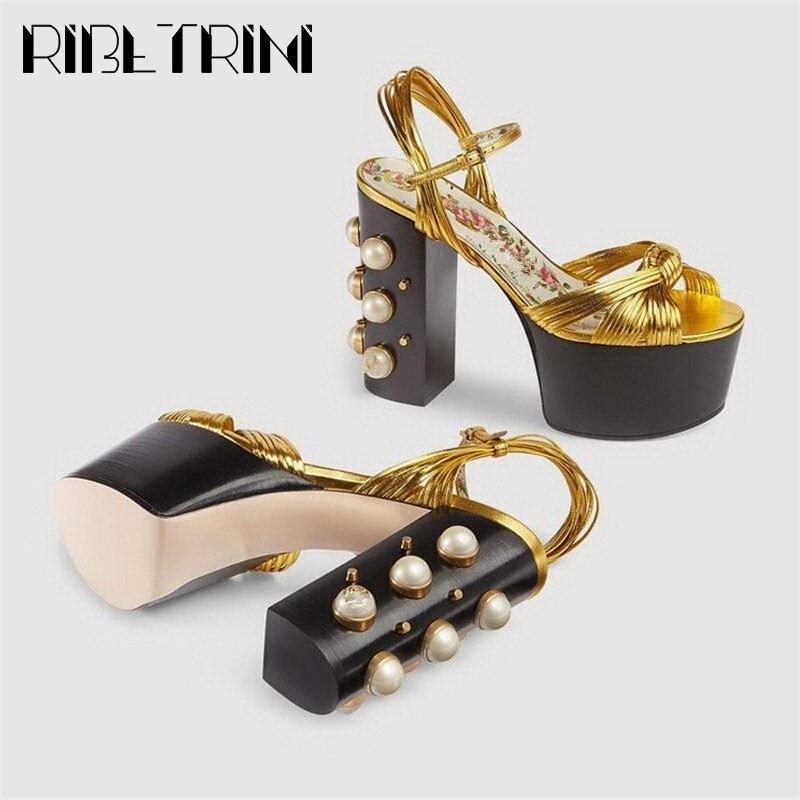 Richeini-صندل نسائي بنعل سميك معدني ، حذاء نسائي ذو علامة تجارية فاخرة ، مقاس 34-42 ، للصيف