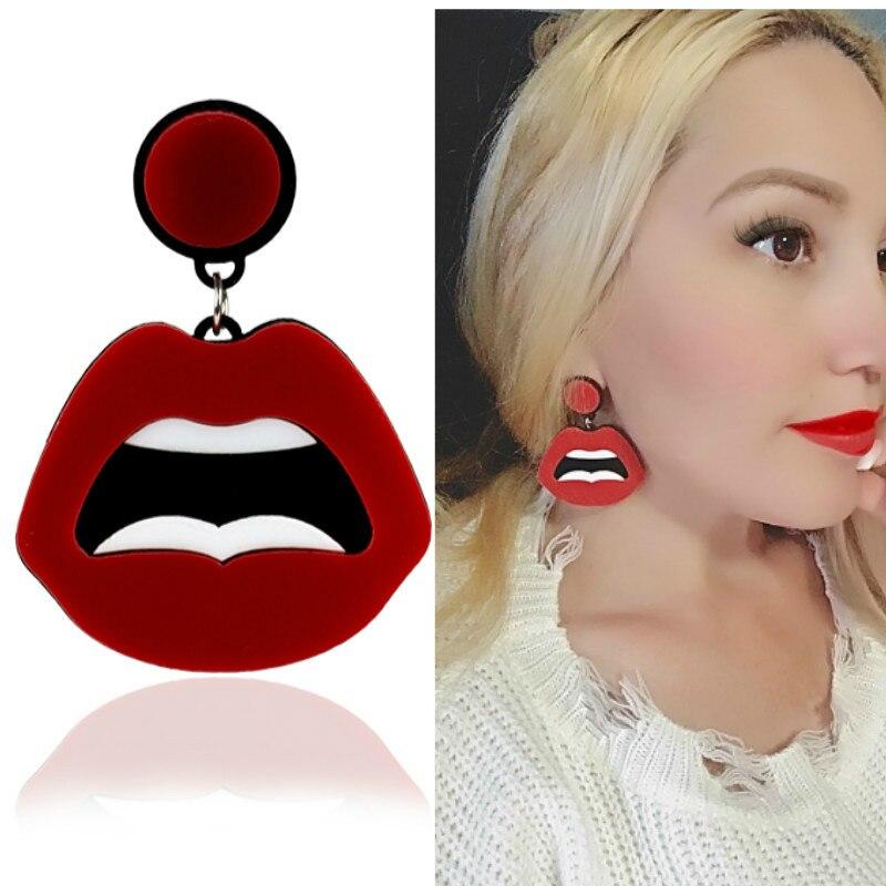 Новые крутые сексуальные серьги в стиле хип-хоп для ночного клуба, красные серьги с зубами в форме губ, геометрические акриловые серьги для ...