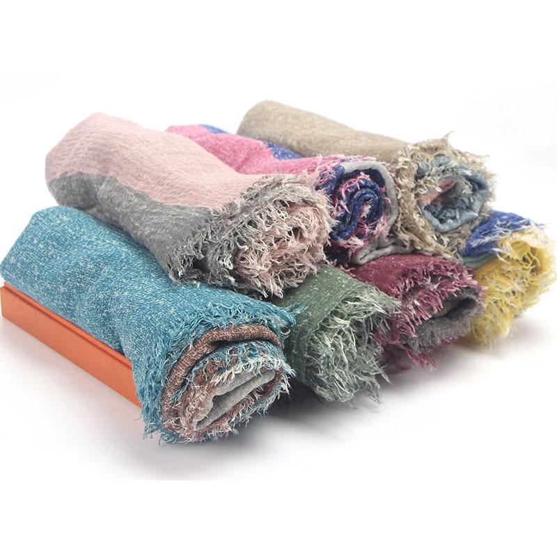 Bufanda de lino algodón Multicolor para Otoño e Invierno de 95x180cm, chal cálido para cuello para mujer, pañuelo para cabeza, chales femeninos, bufandas