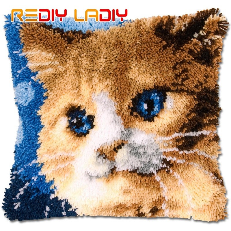 Rediy trava gancho coxim kits animais gato olhos azuis travesseiro diy crocheting kits de fios para bordado inacabado fronha bz719