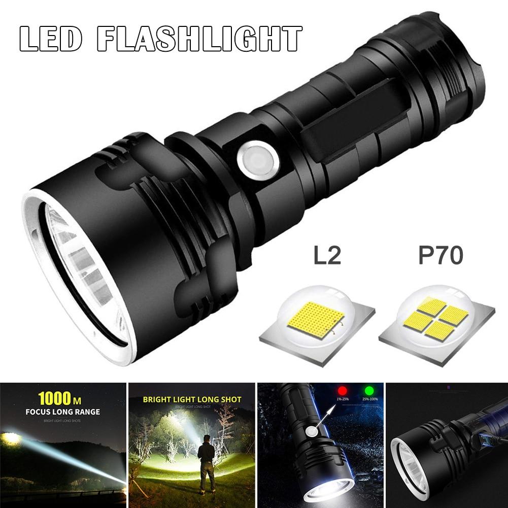 Linterna LED potente, recargable, superbrillante, de largo alcance, alta potencia, para exteriores, luz de búsqueda para el hogar HG99