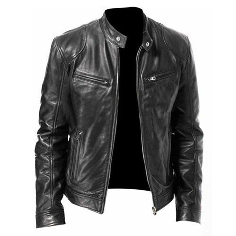 Otoño 2020 chaqueta de cuero para hombre de talla grande negro marrón para hombre Abrigos con cuello levantado chaquetas de cuero para motociclista chaqueta de cuero para motocicleta