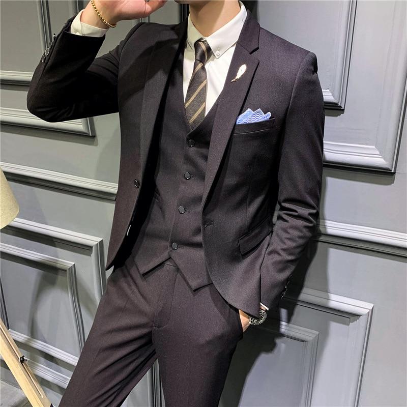 2021 New Mens Suit Slim Professional Three Piece Wedding Best Man Evening Dress Men Clothing
