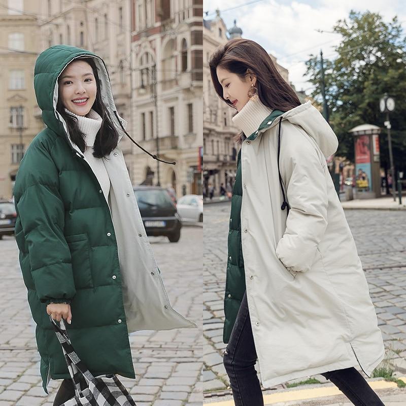 Invierno abajo chaqueta Parka mujer 2020 nueva abrigo cálido de algodón Down desgaste de doble cara larga de invierno con capucha de algodón prendas de vestir mujeres abrigo