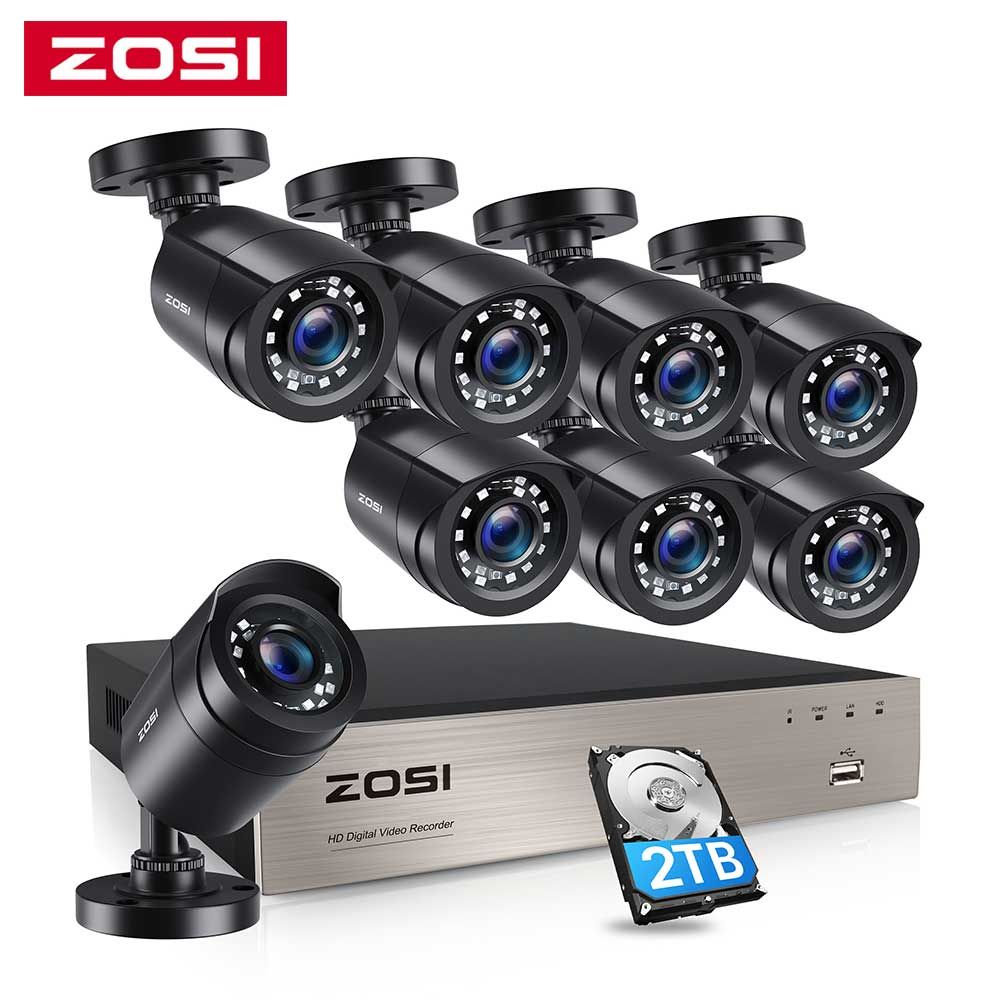 ZOSI-نظام مراقبة بالفيديو 8CH ، 8x1080P ، 2.0 ميجابكسل ، خارجي/داخلي ، الأشعة تحت الحمراء ، كاميرات أمان منزلية مقاومة للماء ، H.265 HD CCTV DVR kit