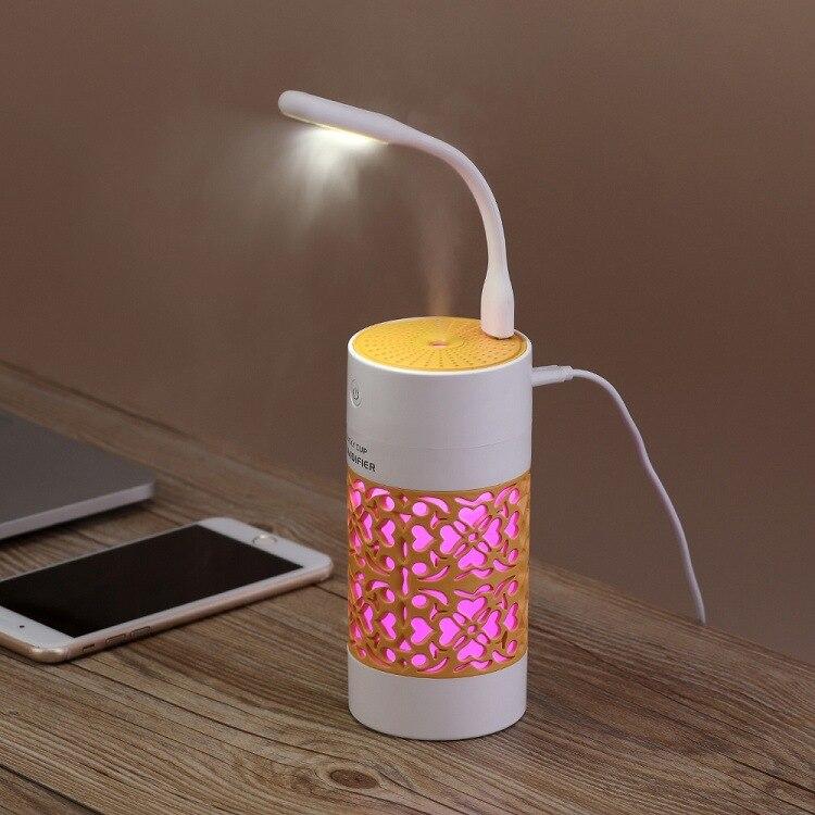 Nuevos productos taza de la suerte humidificador montado en el coche Mini portátil USB tres en uno humidificador romántica luz de noche hidratante spray