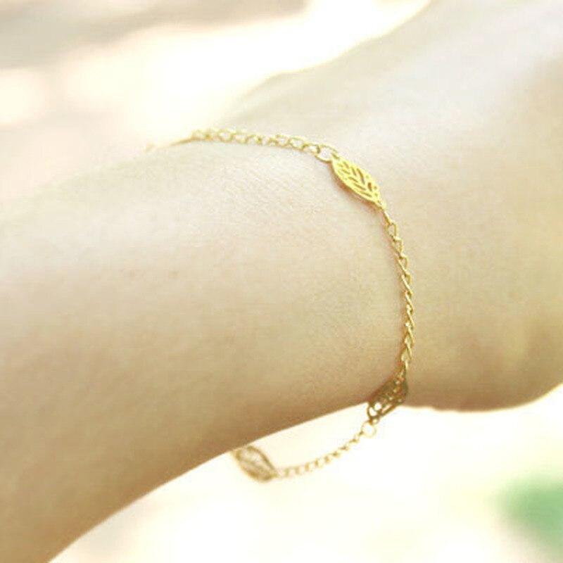 Leaves Bracelets for Women Tassel Bracelet Charms Girls Rose Gold Color Plant Fashion Jewelry Wholesale Bulk Pulseras