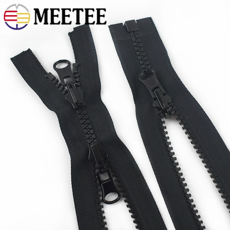 Meetee 60-100cm 5# Resin Zippers Double-sided Slider Open-end Zipper for Coat Luggage Repair Zip DIY