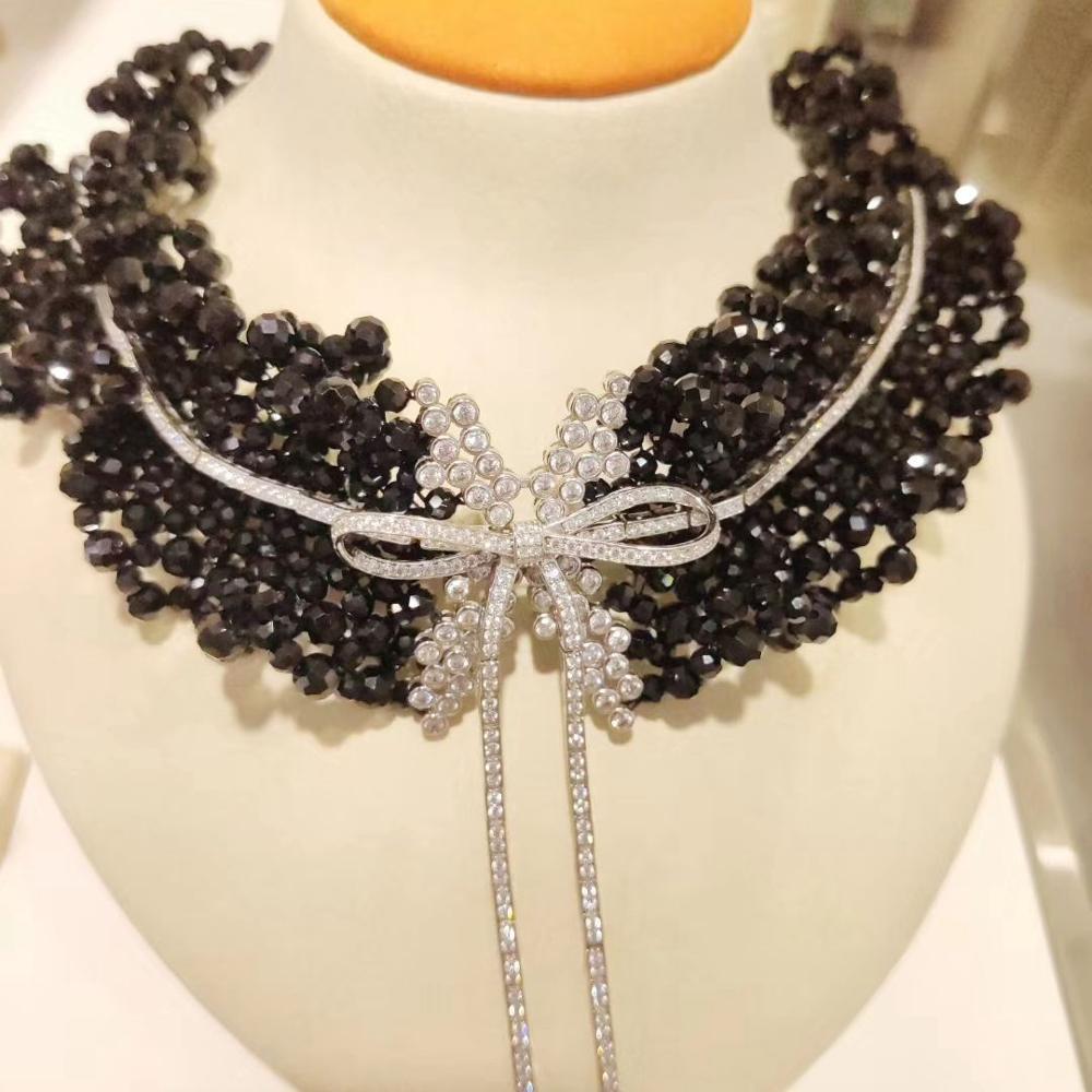 المرأة 100% ريال 925 فضة شبه حجر كريم bowknot المختنق قلادة السيدات مجوهرات الزفاف الفاخرة