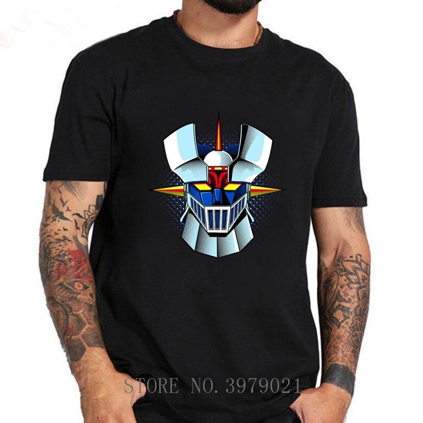 Nova chegada anime mazinger z t camisas dos homens anime antigo clássico mangá robô filme camiseta preto básico meninos camisa
