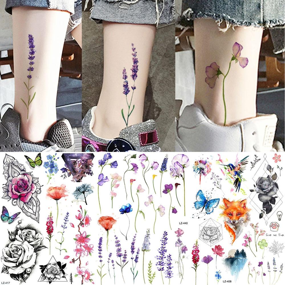 YURAN Ankle Flora Cherry Lavender Flash Fake Waterproof Tattoos Temporary Women Arm Chest Tattoo Stickers Body Art Custom Tatoos