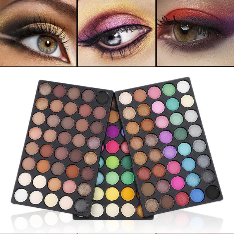 120 cores paleta de sombra à prova dwaterproof água cosméticos fosco glitter pó paleta maquiagem kit tslm2