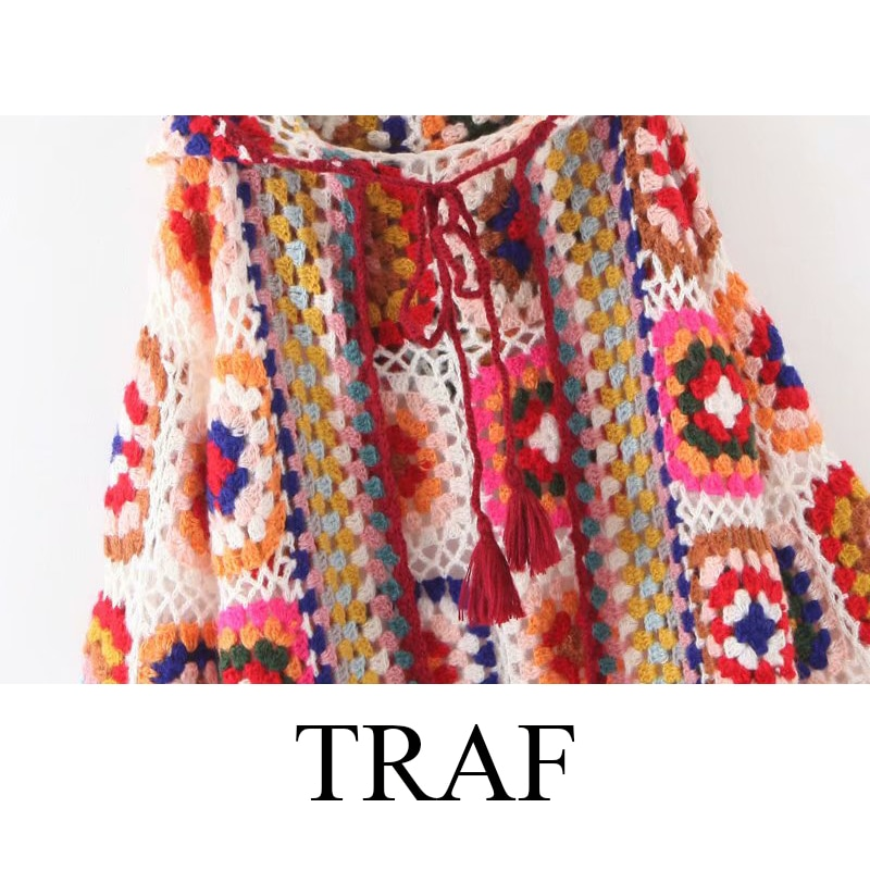 TRAF ZA Cardigan For Women Autumn Fashion Woman Clothes Long-Sleeved Hooded Knitwear Plaid Long Coat Vintage Knitted Sweater enlarge
