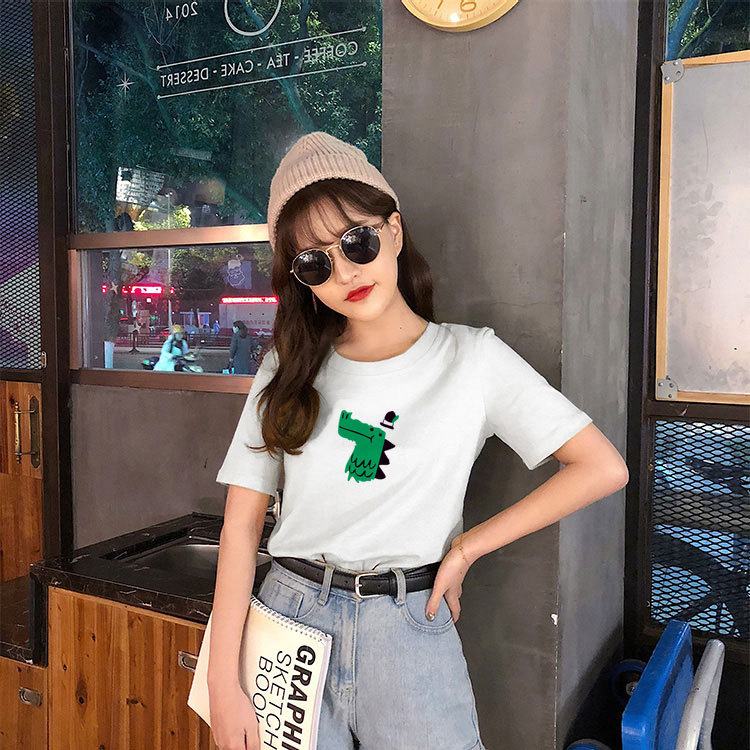 Camisetas de algodón para mujer media manga 2019 otoño gris cuello redondo a rayas camiseta femenina Casual básica clásica ropa