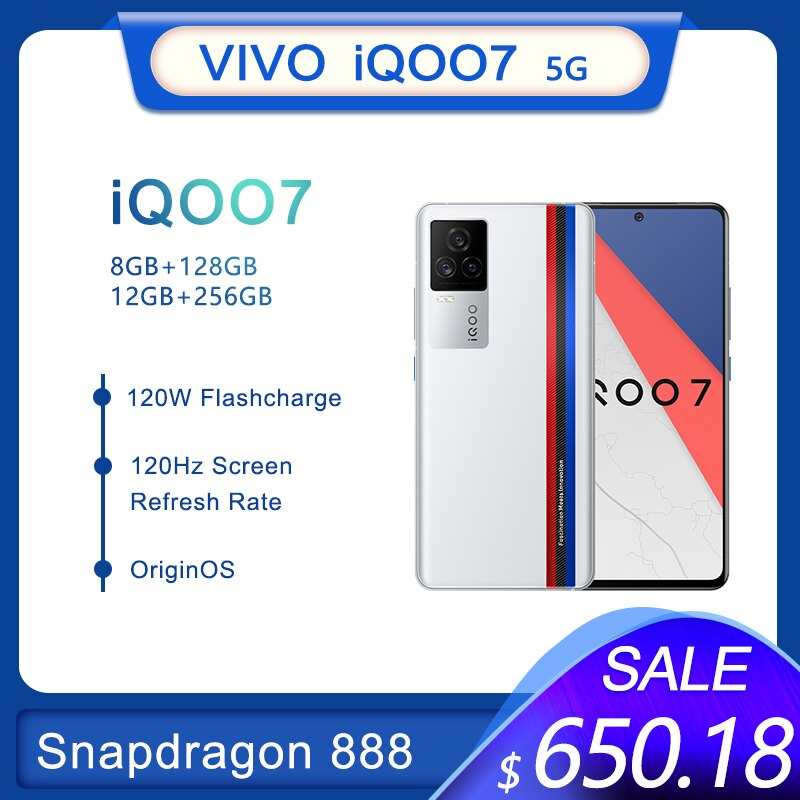 Перейти на Алиэкспресс и купить Оригинальный Vivo iQOO 7 5G Смартфон Snapdragon 888 120W тире зарядки ультра-быстрая вспышка KPL официальный марафона мобильный телефон