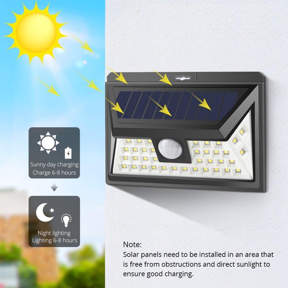 Luz Solar al aire libre PIR Sensor de movimiento 100 LEDs Panel farolas hogar pared balcón garaje pasillo escaleras jardín al aire libre lámpara