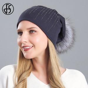 FS Fashion Winter Hat For Women Real Raccoon Fur Pompom Beanie Hat Gray Wine Red High Quality Keep Warm Skullies Beanies Ski Cap