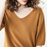 autumn women t shirts short sleeves v neck summer short casual solid fashion female knitting pullover sweater tops tees jumper