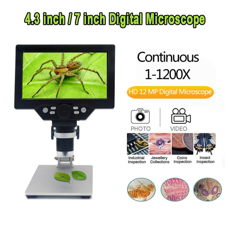 G1000/g1200 12mp 1-1200x usb microscópio digital para soldar eletrônico hd microscópio de vídeo amplificação contínua