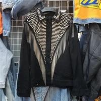 spring 2021 new harajuku heavy work rivet fashion chain tassel women denim jacket streetwear loose long sleeve blue jeans jacket