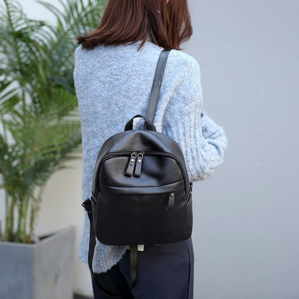 Mochilas pequeñas de cuero PU para chicas adolescentes mochilas escolares para mujeres Paquete de bolsa de viaje de gran capacidad mochila