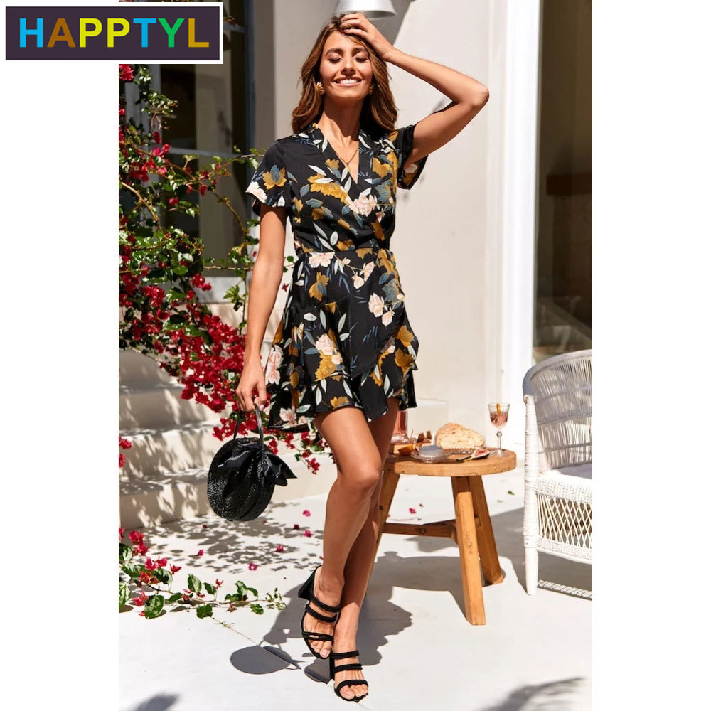white lace details round neck short sleeves mini dress with lined HAPPTYL 1Pcs Women's Sexy V-Neck Short Sleeves Asymmetric Floral Print Party Summer Short Mini Dress