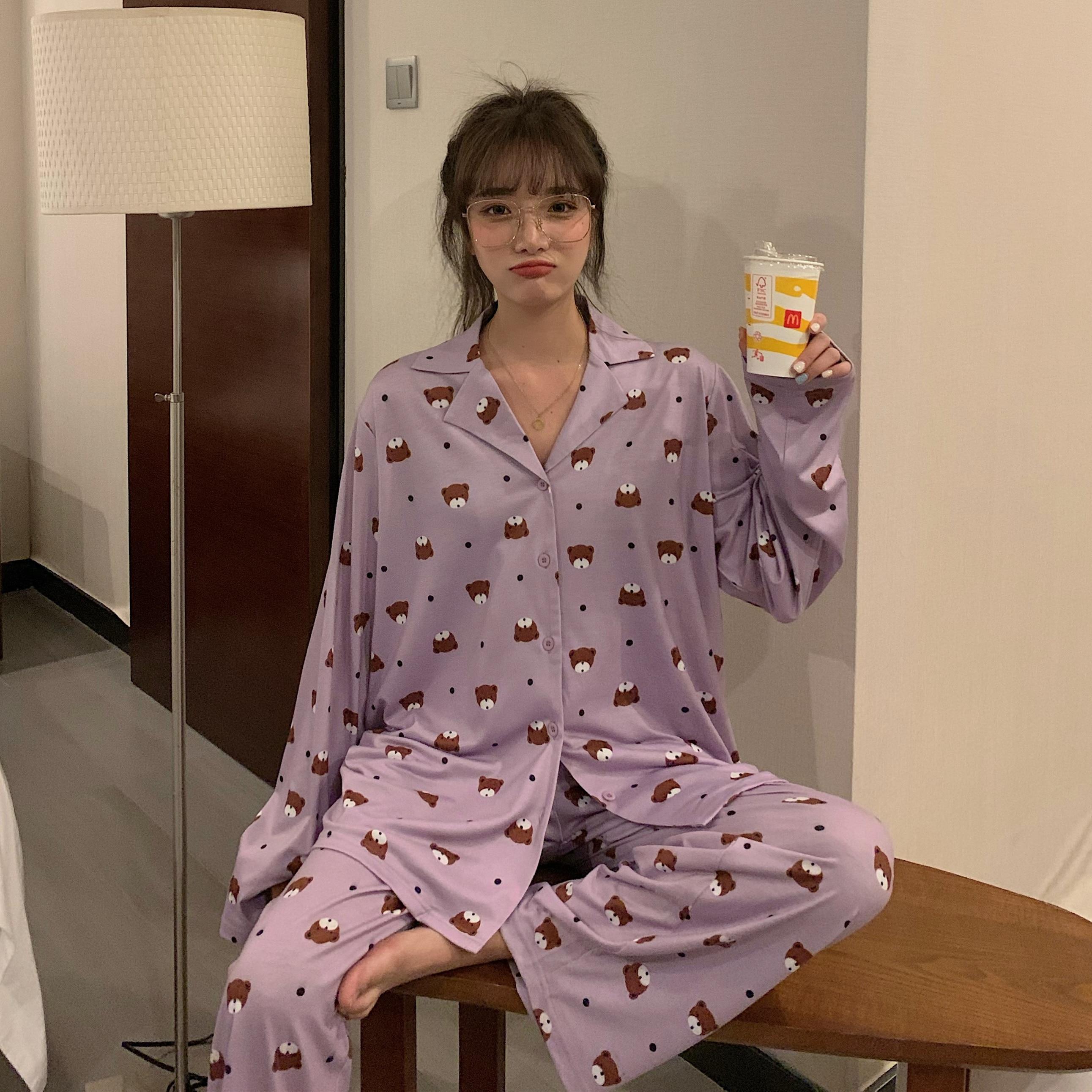 Сделайте акции предложение ~ 9916 # девушка с мультяшным медведем легко печать с длинным рукавом Пижама, одежда для отдыха две штуки