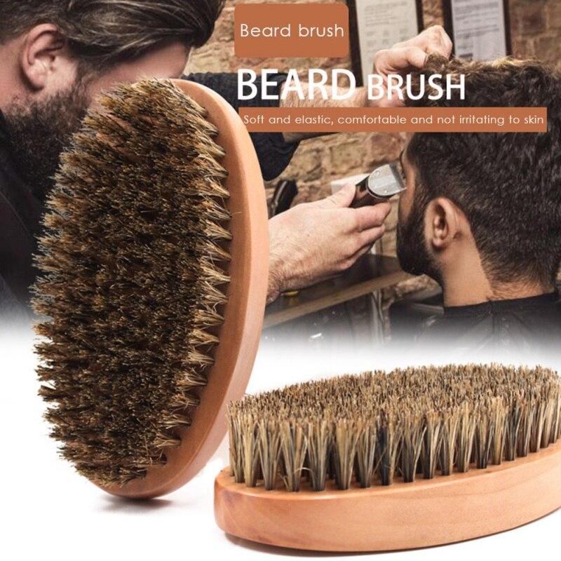 1pc Boar Bristle Combs Solid Wood  Personality Styling Cleaning Tool Beard Comb Beard Brush Beard Care Tools Men's Beard Care недорого