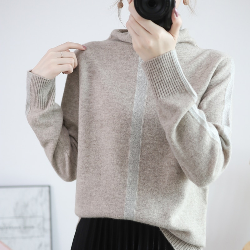 This Year Autumn Winter Color Matching Pile Collar 100% Pure Wool Sweater Pullover Women Simple Loose Inside Lazy Cashmere Shirt