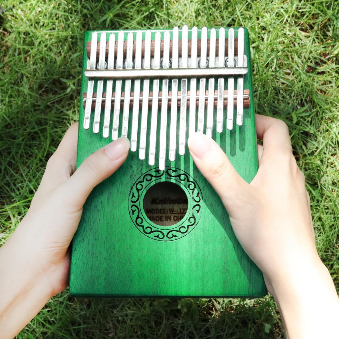 Thumb Piano 17 Key Green Kalimba Single Board Mahogany  Mbira Mini Keyboard Instrument with Complete Accessories enlarge