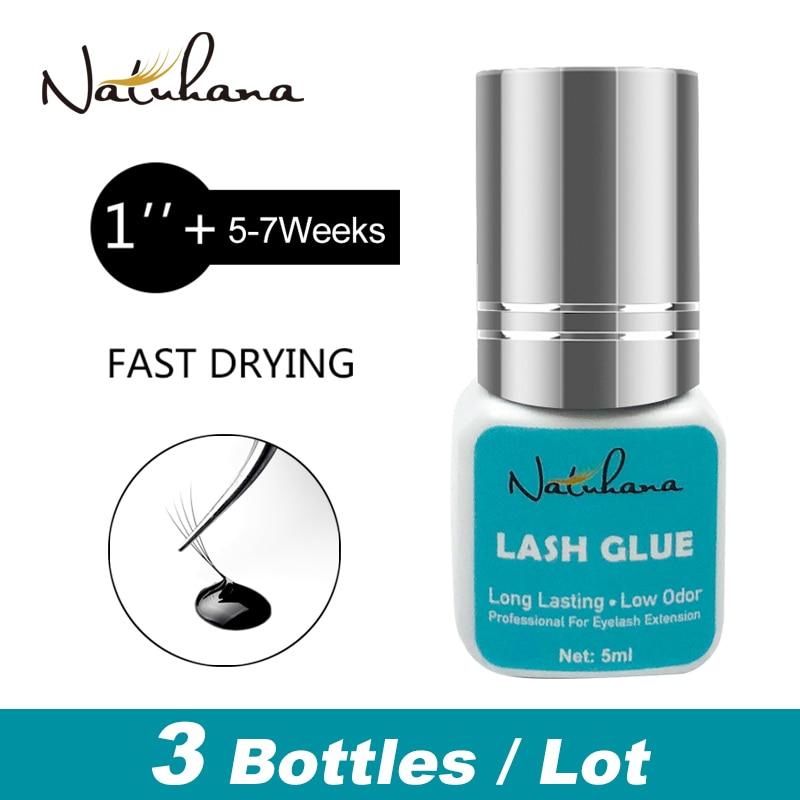 NATUHANA 3 bottles 1 Second Fast Dry Fans False Lash Extension Glue Long Black Lasting Individual Mink Eyelash Glue Adhesive