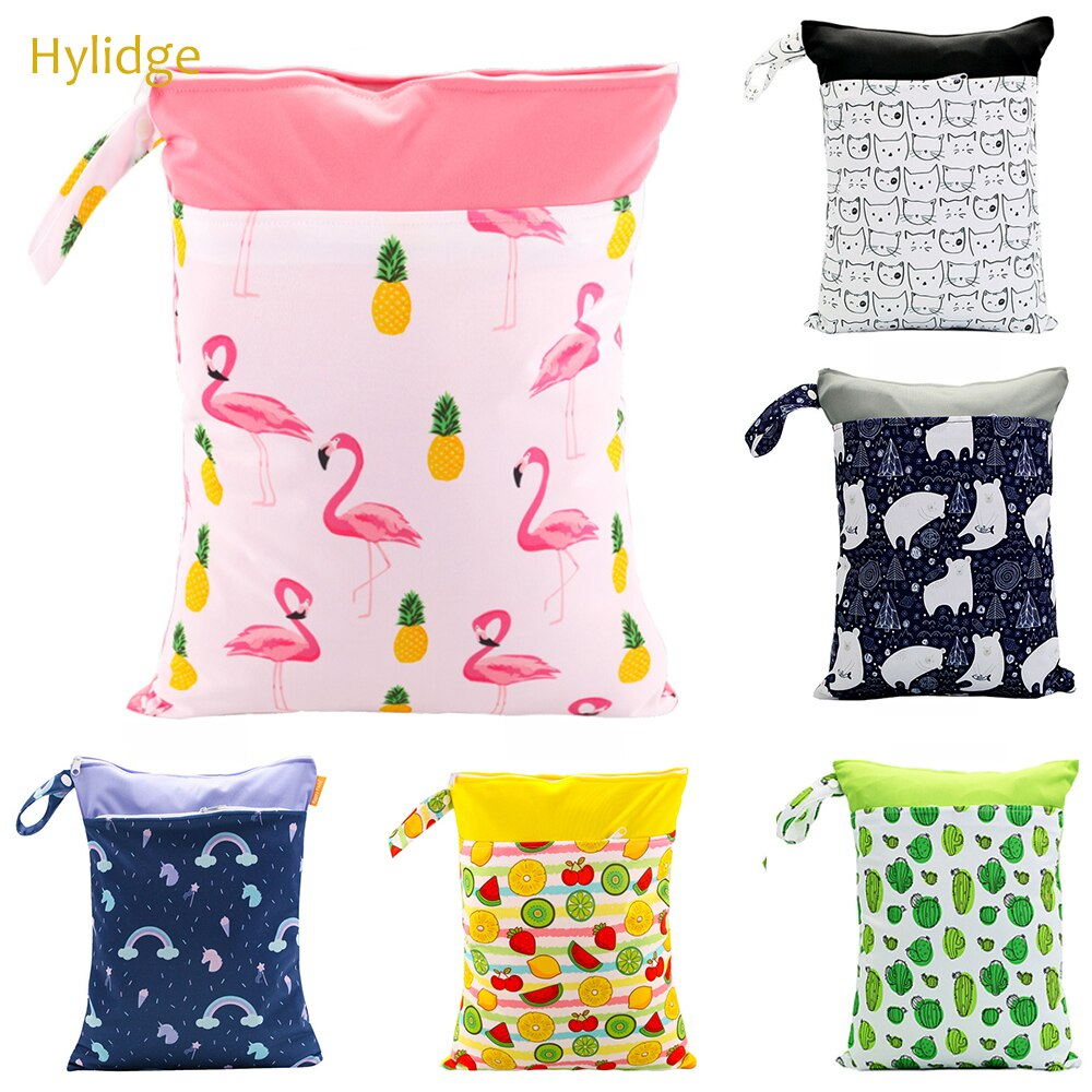 Hylidge Print Waterproof Double Pocket Wet Dry Diaper Bag Reusable Snack Cloth Bag Handle Wetbags 30*40CM Cloth Sandwich Bags