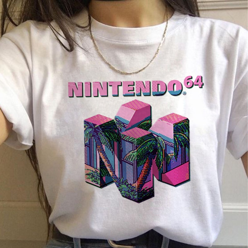 Camiseta feminina estética divertida, camiseta feminina harajuku ullzang desenhos animados