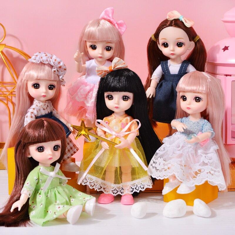 Muñeca pequeña de 17cm BJD barbiee, muñeco articulado artesanal, regalo de cumpleaños,...