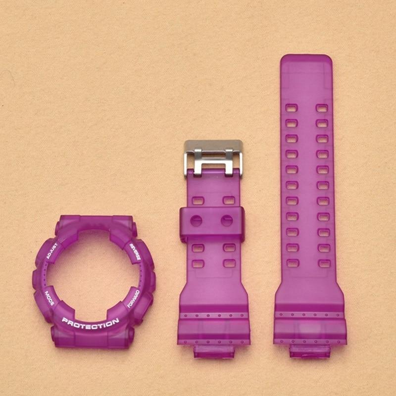 De goma de silicona caso pulsera de reloj para Casio g shock GA-110 GA 100 GA-120 GD-110 hombres deporte impermeable correa de reloj de pulsera