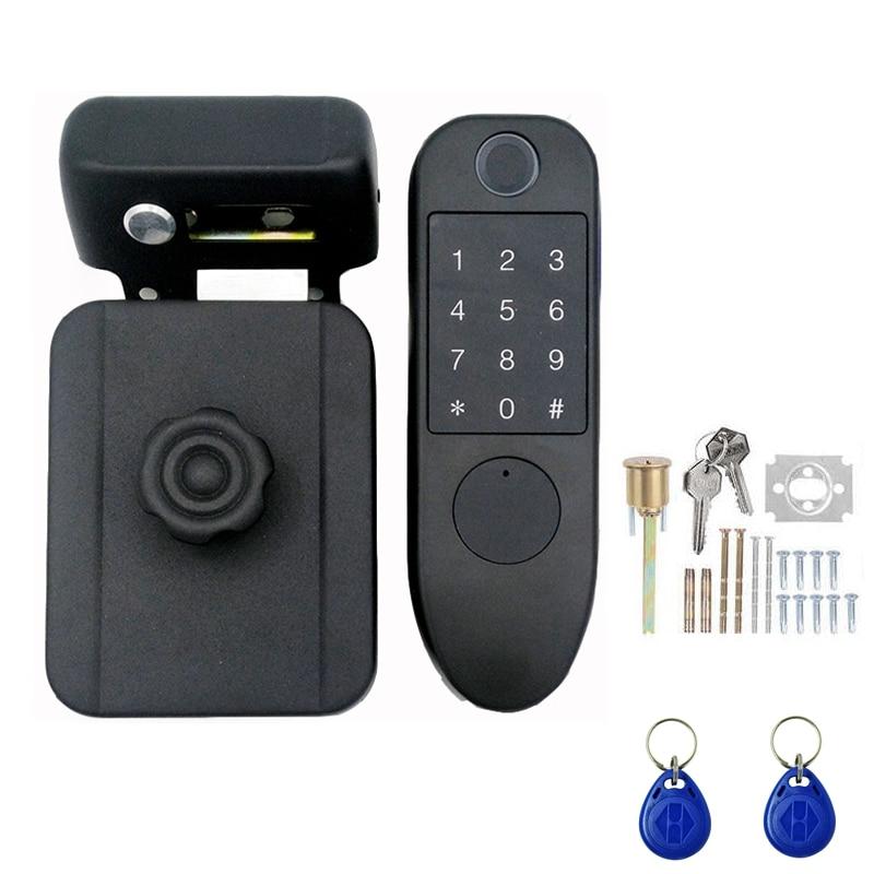 Get Door Handle 125KHZ Anti-Theft Lock Smart Access Control Fingerprint Storage Password Card Key Integrated Electric Free Wiring