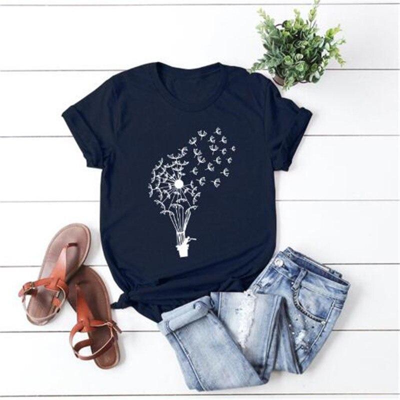 Летняя женская футболка s размера плюс S-5XL хлопок короткий рукав графический Забавный, принт в виде одуванчиков, принт женские свободные пов...