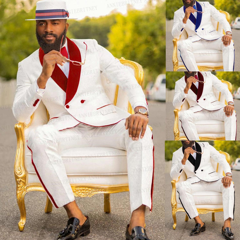 الأبيض رجل الزفاف دعوى 2 قطعة مخصص العريس حفلة موسيقية حزب سهرة صالح سليم السترة الأحمر المخملية مزدوجة الصدر سترة مع السراويل