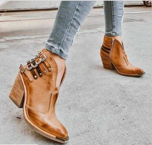 2020 New Women Ankle Boots Ladies Luxury Leather shoes high heels femme platform short Designer shoes  large size 35-43